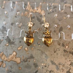 Juicy Couture Gold Crown & Heart Earrings